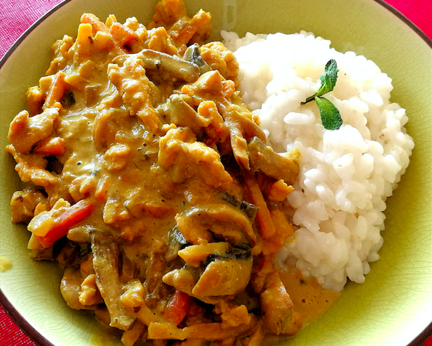 poulet au curry vegan